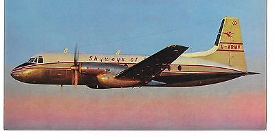 Airline issue postcard-Skyways of London HS748 aircraft