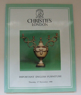 Christies London Auction BOOK/ Guide Important English Furniture 17 Nov 1988 VG