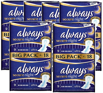 Always Ultra Secure Night Duo 18S x 6 Packs