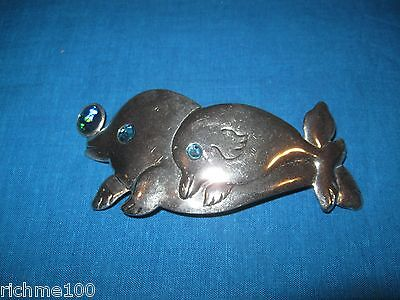 "Blue Abalone Shell & Stainless Metal Swimming Dolphin Dolphins Hair Clip 5"" VTG"