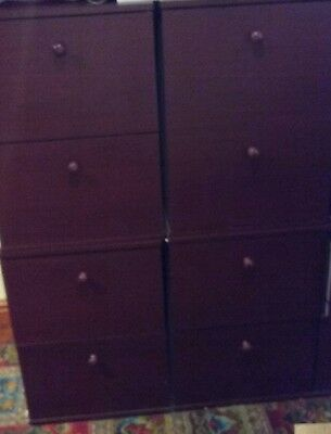 4 off 2 draw mahogany filing cabinets