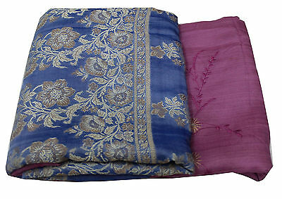 Vintage Indian Sari Floral Embroidered Purple Saree Dress Wrap Women Sarong 5Yd