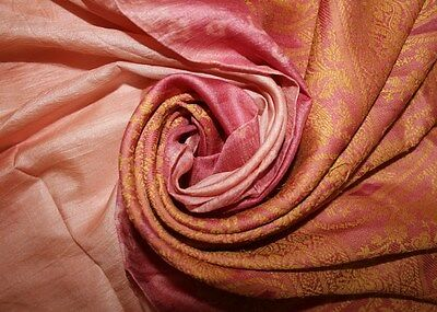 Vintage Indian Sari Pure Silk Embroidered Fabric Pink Saree 5Yd Crafts Wrap Deco