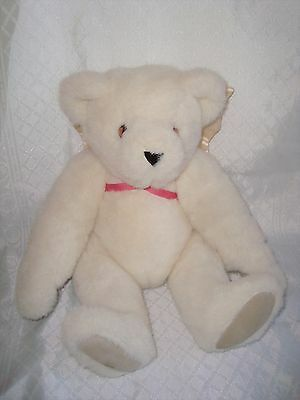 "Vtg 1984 VERMONT TEDDY BEAR Plush,Ivory White,18"" Soft Posable Plush,Angel Wings"