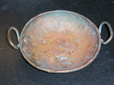 "Hand Wrought Copper Bowl with Handles 9"" x 2"""
