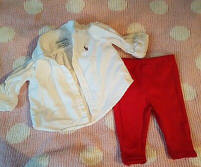 Ralph Lauren baby girl Shirt and leggings 3m