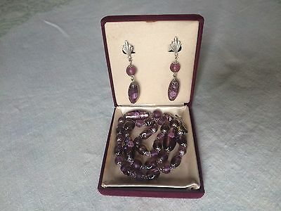 Vintage Venetian Foil Glass Bead Necklace and Earring Set from Italy