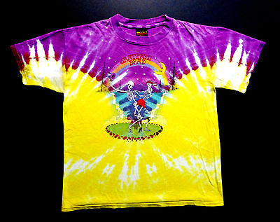 Grateful Dead Shirt T Shirt Vintage 1990 Dancing Skeletons Stars Moon Tie Dye L