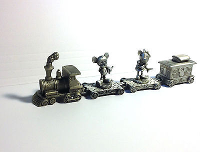 4 DISNEY Miniature Pewter Train MICKEY MOUSE MINNIE ENGINE/CABOOSE Art Railroad