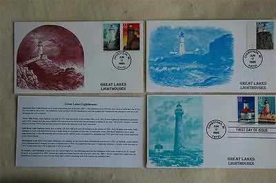 Great Lakes Lighthouses 32c Stamps 3 FDC's S & T Cachets Sc#2969-73 Issu 6/17/95