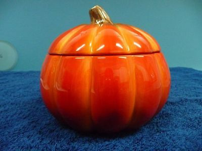 FTD Ceramic Pumpkin Gourmet Soup Bowl Candy Dish Jar With Lid