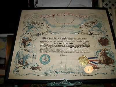 Framed United States Navy Realm of the Arctic Circle Certificate signed 1969