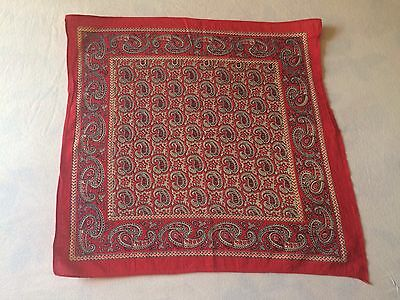 Antique Turkey Red Bandana Floral and Paisley 20'' x 21'' Mint
