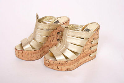ORIGINAL VINTAGE 1970's 70's GOLD LEATHER CORK WEDGE PLATFORM SHOES!  UK 4