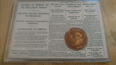 Victory In Europe Commemorative Coin The Times Ve Day 8 May 1945 In Plastic Case