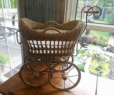 Wicker Wood Baby Doll Buggy Carriage Pram wooden mini stroller wheels
