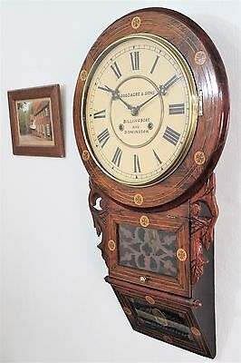 Low Reserve Lovely Antique Inlaid American Striking Wall Clock Eight Day C1870