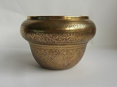 Vintage Brass Vase / Bowl Engraving Of Peacocks And Leaves Pattern Indian