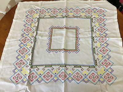 Vintage hand embroidered  cross stitch table cloth in bright geometic design