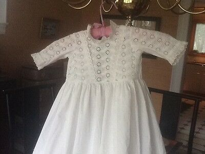 Vintage Cotton Handmade White Christening Baby Gown Very Long