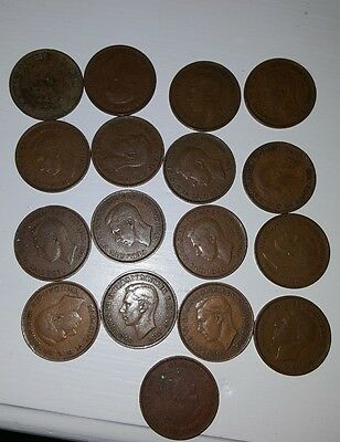 1940's one penny coins- George VI (17 coins)