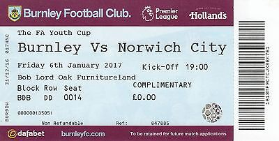 Ticket - Burnley Youth v Norwich City Youth 06.01.17 FA Youth Cup
