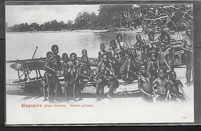 Singapore Printed Postcard Of Native Group, (New Guinea).