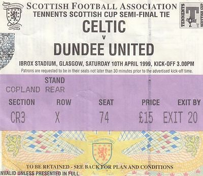 Ticket - Celtic v Dundee United 10.04.99 Scottish Cup Semi-Final