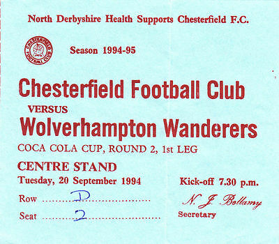 Ticket - Chesterfield v Wolverhampton Wanderers 20.09.94 League Cup