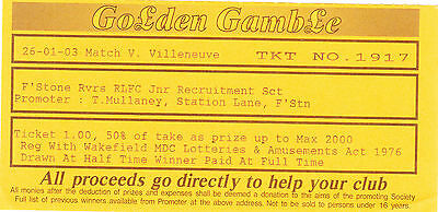 Ticket - Featherstone Rovers v Villeneuve 26.01.2003 Golden Gamble Ticket