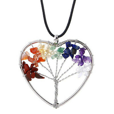 Women Leather Chain Crystal Natural Stone Heart Wisdom Tree Charm Necklace Gift