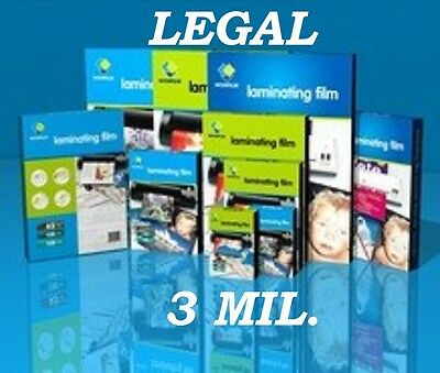 50 LEGAL SIZE Quality Laminating Laminator Pouches Sheets  9 x 14-1/2  3 Mil