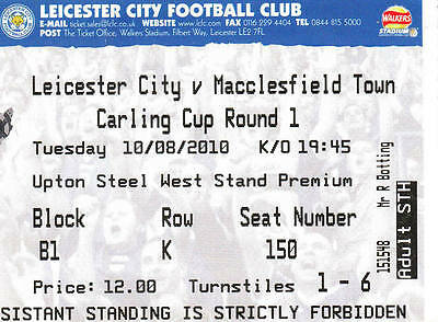 Ticket - Leicester City v Macclesfield Town 10.08.10 Carling Cup