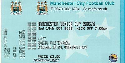Ticket - Manchester City Reserves v Bury Reserves 19.10.05 Manchester Senior Cup