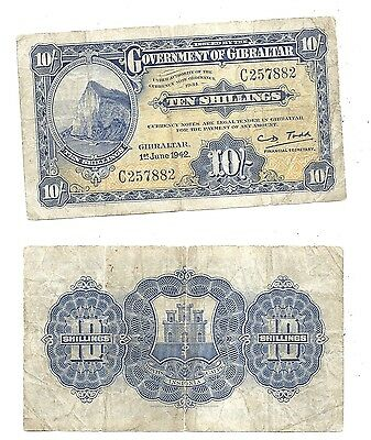 Gibraltar 10 Shillings 1942 (F+) Condition Banknote P-14