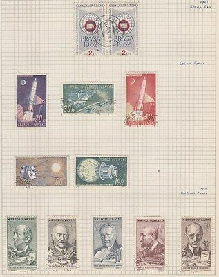CZECHOSLOVAKIA 1961 Stamps, Space, etc on Old Book Pages,as per scan #