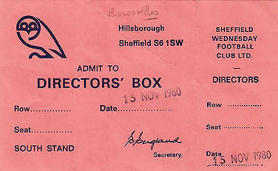Ticket - Sheffield Wednesday Reserves v Bolton Wanderers Reserves 15.11.80