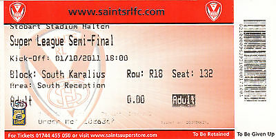 Ticket - St Helens v Wigan Warriors 01.10.2011 Super League Semi-Final