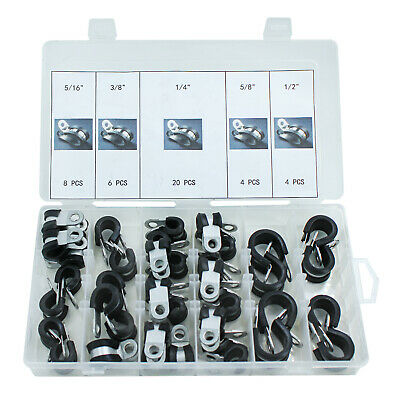 HFS Rubber Insulated Adel Clamp Assortment, 42 Piece