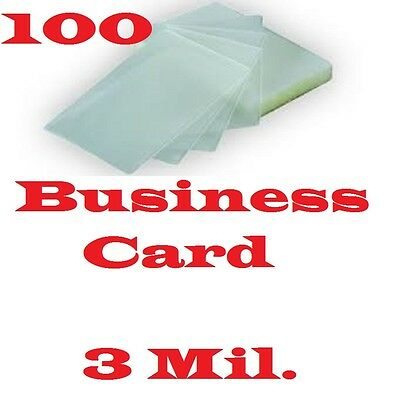 QTY 100 Business Card Laminating Laminator, Pouches Sheets  2-1/4 x 3-3/4  3 Mil