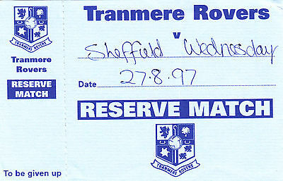 Ticket - Tranmere Rovers Reserves v Sheffield Wednesday Reserves 27.08.97
