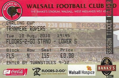 Ticket - Walsall v Tranmere Rovers 10.08.10 League Cup