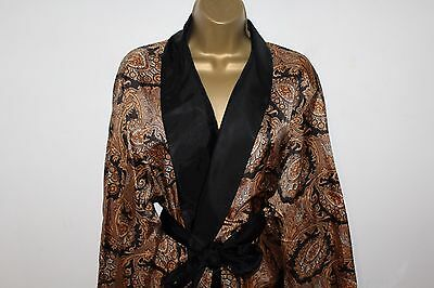 Amazing Vtg St Micheal Paisley Dressing Gown Gold And Black Size L