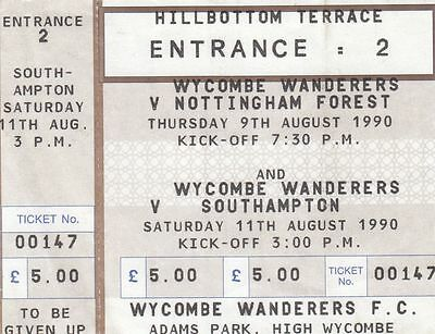 Ticket - Wycombe Wanderers v Nottingham Forest 09.08.90