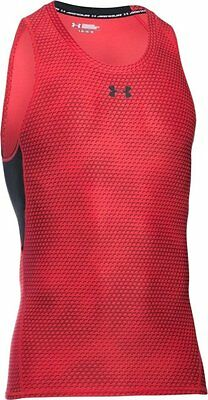 Under Armour Heatgear ARMOUR PRINTED Compression Tank/Vest  XXL  Red  New.
