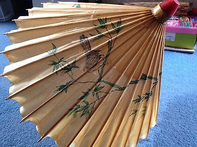 Oriental Paper/ Fabric Decorated Parasol. Beautiful. Antique/ Vintage. Birds