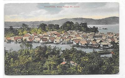 SINGAPORE PRINTED POSTCARD OF MALAY VILLAGE, St.JAMES.