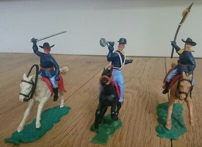 Vintage Timpo American Civil War Union Mounted Cavalry Toy Soldier Figure Horses