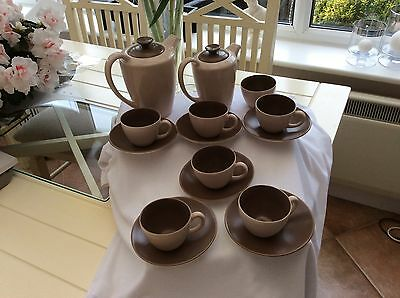 Poole Pottery Coffee Set 15 Pieces Coffee And Cream Colour