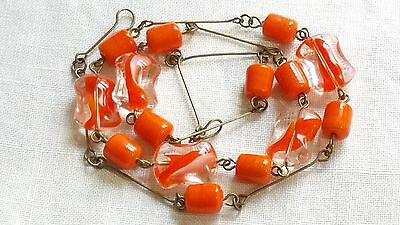 Czech Orange And Clear Glass Bead Necklace Vintage Deco Style